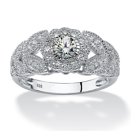 .53 TCW Round Cubic Zirconia Flower Miligrain Ring in Platinum over Sterling Silver at PalmBeach Jewelry