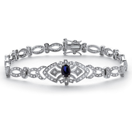 1.30 TCW Sapphire and Cubic Zirconia Vintage-Style Bracelet in Platinum over .925 Sterling Silver at PalmBeach Jewelry