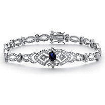 SETA JEWELRY 1.30 TCW Sapphire and Cubic Zirconia Vintage-Style Bracelet in Platinum over .925 Sterling Silver