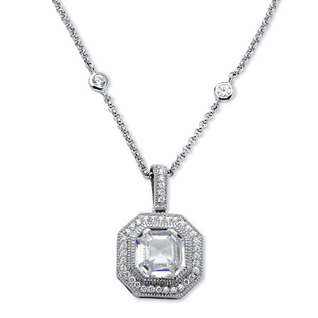 5.45 TCW Ascher-Cut Cubic Zirconia Halo Hexagon Pendant Necklace in Platinum over Sterling Silver at PalmBeach Jewelry