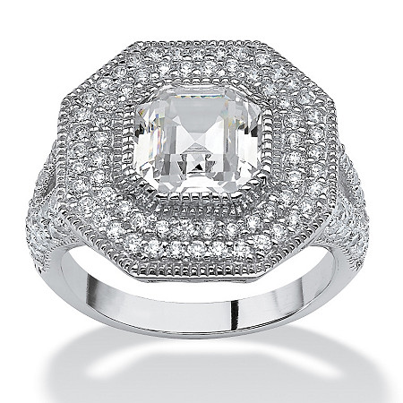 3.15 TCW Ascher-Cut Cubic Zirconia Vintage-Inspired Halo Ring in Platinum over Sterling Silver at PalmBeach Jewelry