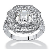 3.15 TCW Ascher-Cut Cubic Zirconia Vintage-Inspired Halo Ring in Platinum over Sterling Silver
