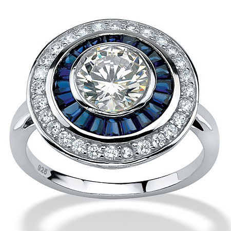 3.26 TCW Round Cubic Zirconia and Sapphire Art Deco-Inspired Ring in Platinum over Sterling Silver at PalmBeach Jewelry