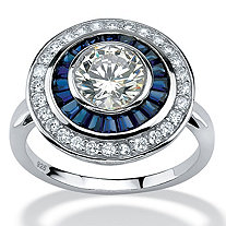 3.26 TCW Round Cubic Zirconia and Sapphire Art Deco-Inspired Ring in Platinum over Sterling Silver