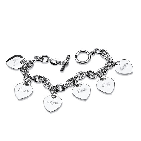 Personalized 6 Heart Charm Toggle Bracelet in Silvertone at PalmBeach Jewelry