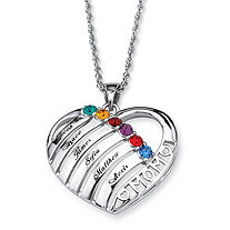 Personalized Simulated Birthstone Mom Necklace in Silvertone