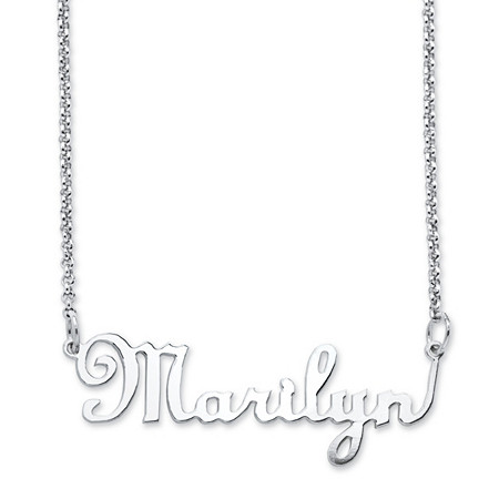 Personalized Script Nameplate Necklace in Sterling Silver at PalmBeach Jewelry