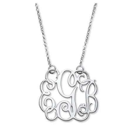 Personalized Script Monogram Necklace in Sterling Silver at PalmBeach Jewelry