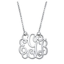 Personalized Script Monogram Necklace in Sterling Silver