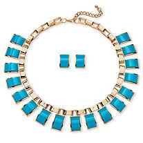2 Piece Teal Rectangle Lucite Necklace and Earrings Set in Yellow Gold Tone
