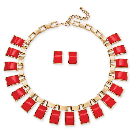 Salmon Rectangle Two-Piece Necklace and Earrings Set in Yellow Gold Tone at PalmBeach Jewelry