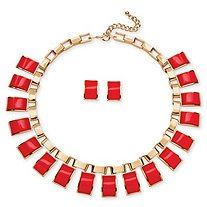 Salmon Rectangle Two-Piece Necklace and Earrings Set in Yellow Gold Tone