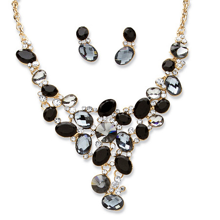 2 Piece Black and Grey Crystal Necklace and Earrings Set in Yellow Gold Tone at PalmBeach Jewelry
