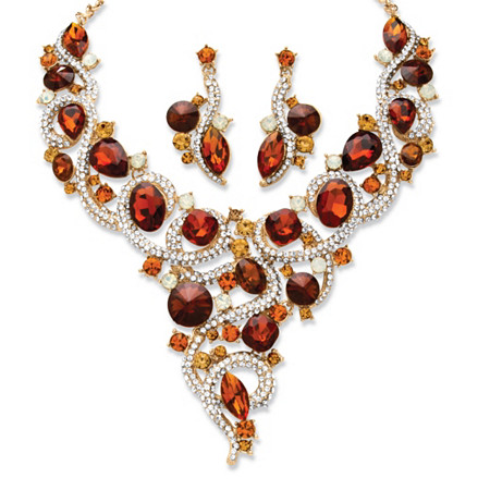 Amber, Champagne Multi-Shape Crystal Yellow Gold Tone Necklace and Earrings 2-Piece Set at PalmBeach Jewelry