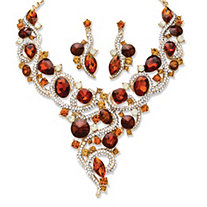 Amber, Champagne Multi-Shape Crystal Yellow Gold Tone Necklace and Earrings 2-Piece Set
