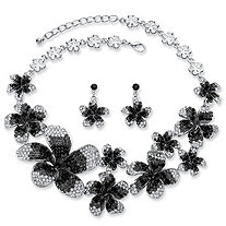 Black, Grey and White Ombre Crystal 2-Piece Flower Bib Necklace and Earrings Set in Silvertone Adjustable 16