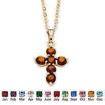 SETA JEWELRY Simulated Birthstone Cross Pendant Necklace in Yellow Gold Tone
