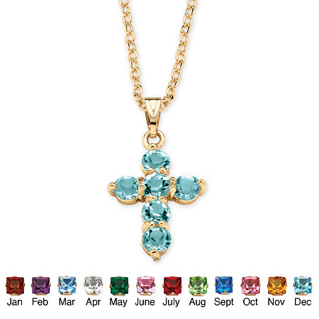 Birthstone Cross Pendant Necklace in Yellow Gold Tone at PalmBeach Jewelry