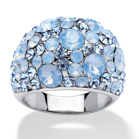 Blue and Aurora Borealis Crystal Dome Ring MADE WITH SWAROVSKI ELEMENTS in Stainless Steel at PalmBeach Jewelry