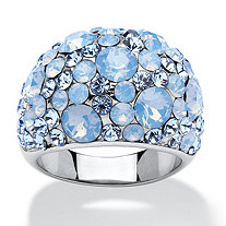 SETA JEWELRY Blue and Aurora Borealis Crystal Dome Ring MADE WITH SWAROVSKI ELEMENTS in Stainless Steel