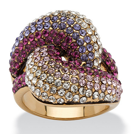 Shades of Purple Crystal Knot Cocktail Ring MADE WITH SWAROVSKI ELEMENTS in Gold Ion-Plated at PalmBeach Jewelry