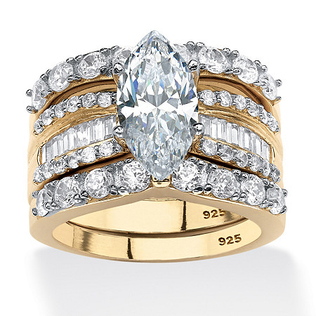 3 Piece 4.55 TCW Marquise-Cut Cubic Zirconia Bridal Ring Set in 18k Gold over Sterling Silver at PalmBeach Jewelry