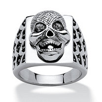 Men's Grey Crystal Textured Skull Ring in Stainless Steel