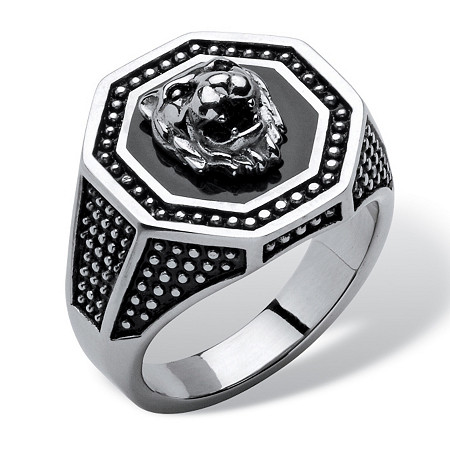 Men's Antiqued Stainless Steel Hexagon Lion's Head Octagon Studded Ring at PalmBeach Jewelry
