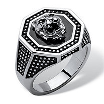 Men's Antiqued Stainless Steel Hexagon Lion's Head Octagon Studded Ring