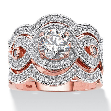 2.37 TCW Round Cubic Zirconia Bridal Ring Set in Rose Gold over Sterling Silver at PalmBeach Jewelry