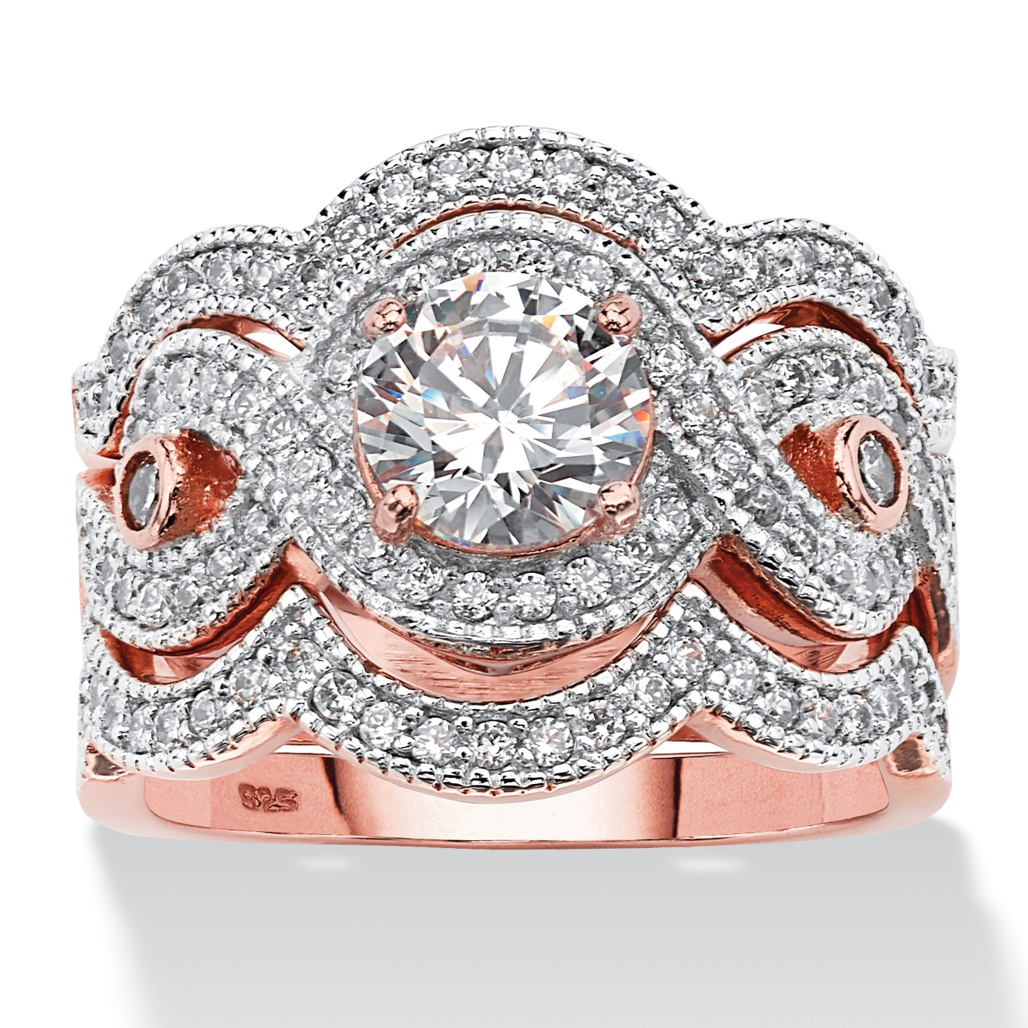 237 TCW Round Cubic Zirconia Bridal Ring Set in Rose Gold over