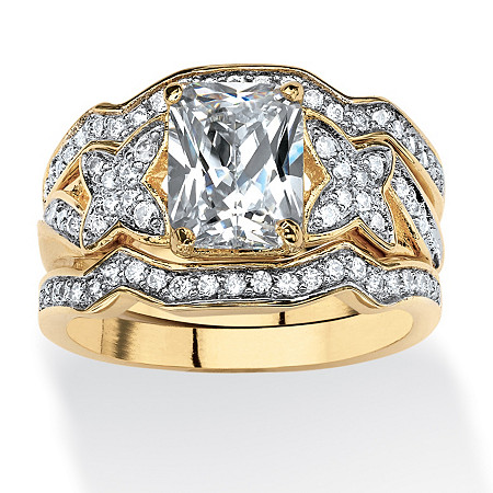 2.97 TCW Emerald-Cut Cubic Zirconia 3-Piece Bridal Ring Set in 14k Gold over Sterling Silver at PalmBeach Jewelry