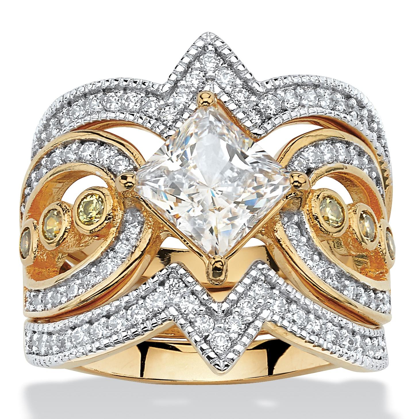 3 Piece 2 19 Tcw Princess Cut Cubic Zirconia Bridal Ring