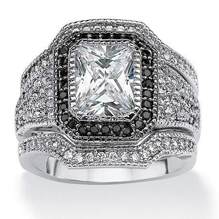 3 Piece 3.36 TCW Emerald-Cut Cubic Zirconia Halo Row Bridal Ring Set Platinum over Sterling Silver at PalmBeach Jewelry