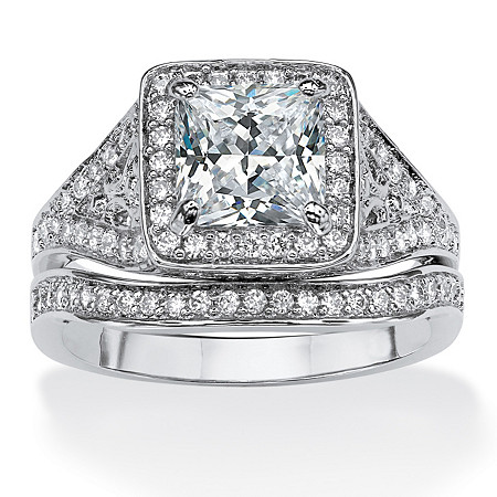 1.95 TCW Princess-Cut Cubic Zirconia Two-Piece Bridal Ring Set in Platinum over Sterling Silver at PalmBeach Jewelry