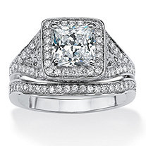 SETA JEWELRY 1.95 TCW Princess-Cut Cubic Zirconia Two-Piece Bridal Ring Set in Platinum over Sterling Silver