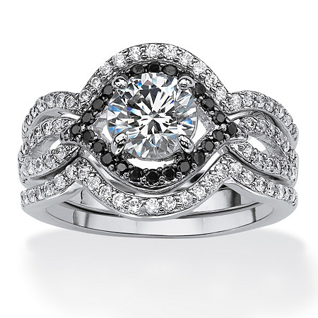 3 Piece 2.28 TCW Round Cubic Zirconia Bridal Ring Set in Platinum over Sterling Silver at PalmBeach Jewelry