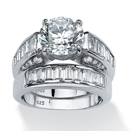 6.40 TCW Round Cubic Zirconia Bridal Set in Platinum Over .925 Sterling Silver at PalmBeach Jewelry