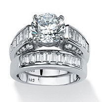 6.40 TCW Round Cubic Zirconia Bridal Set in Platinum Over .925 Sterling Silver