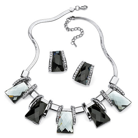 Black and Silver Vintage-Inspired Checkerboard-Cut Crystal Jewelry Set in Silvertone at PalmBeach Jewelry