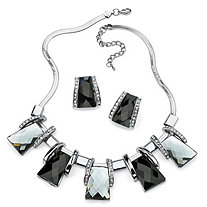 Black and Silver Vintage-Inspired Checkerboard-Cut Crystal Jewelry Set in Silvertone