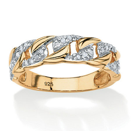 1/10 TCW Round Diamond Curb-Link Ring in 18k Gold Over .925 Sterling Silver at PalmBeach Jewelry