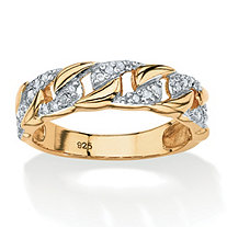 SETA JEWELRY 1/10 TCW Round Diamond Curb-Link Ring in 18k Gold Over .925 Sterling Silver