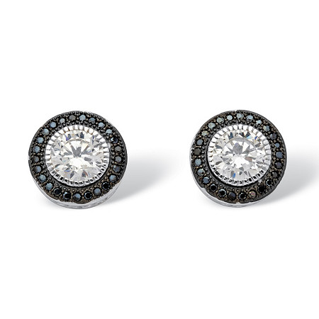 2.05 TCW Round Cubic Zirconia Halo Stud Earrings in Platinum over Sterling Silver at PalmBeach Jewelry