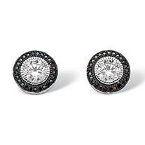 2.05 TCW Round Cubic Zirconia Halo Stud Earrings in Platinum over Sterling Silver