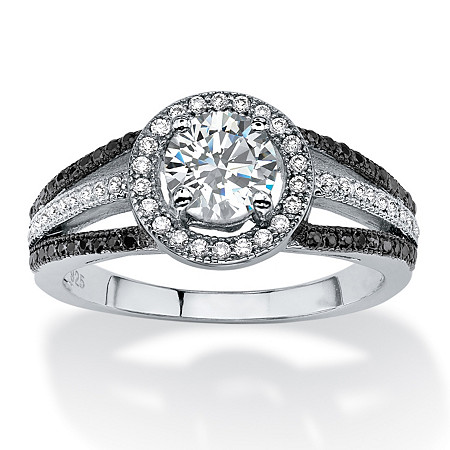 1.55 TCW Round Cubic Zirconia Halo Triple Shank Ring in Platinum over Sterling Silver at PalmBeach Jewelry