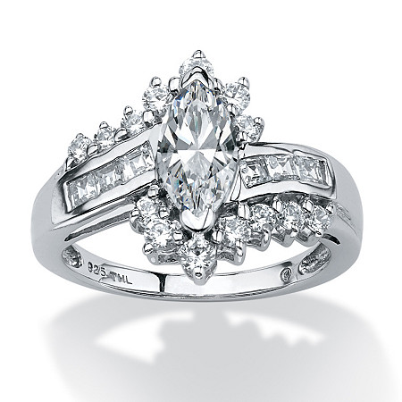 1.65 TCW Marquise-Cut Cubic Zirconia Ring in Platinum over Sterling Silver at PalmBeach Jewelry