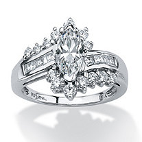 1.65 TCW Marquise-Cut Cubic Zirconia Ring in Platinum over Sterling Silver