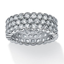 4.50 TCW Round Cubic Zirconia Honeycomb Eternity Band in Platinum over Sterling Silver