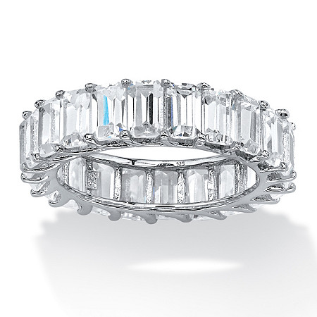 6.44 TCW Emerald-Cut Cubic Zirconia Band in Platinum over Sterling Silver at PalmBeach Jewelry